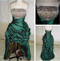 Wholesale Leopard Print Hi Lo Prom Dresses Empire Strapless Taffeta Party Dresses Artificial Flowers Beaded Bodice High Low Prom Evening Dresses