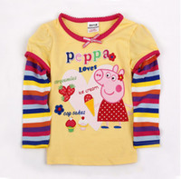 Wholesale F4109 Nova kids autumn clothing Peppa pig Embroidery tees cute tunic long striped sleeve tops girls yellow t shirt
