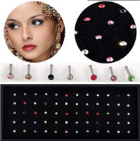 Wholesale Fashion Fashion Mix Colors Rhinestone Nose Ring Studs Body Piercing Jewelry display Box NS15