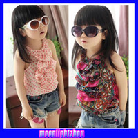 Girl children tank tops - Baby girls T shirts kids children hang neck veil vest girls tank tops tee Chiffon shirt