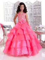 Wholesale 2015 Cute Floor Length Flower Girls Pageant Dresses Vestidos Beaded Tiers Organza Open Back Party Gonws for Wedding