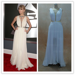 Wholesale 2013 the th Grammy Awards Red Carpet Swift Dresses A Line Sexy Crisscross Pleated Chiffon Gowns get one pearl necklace for free