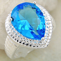 Wholesale New Arrival Fashion Men Women Tops Stylish Blue Topaz Vintage Silver Rings CR0194