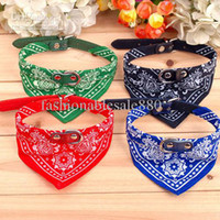 Wholesale Hot salesTriangular Scarf Shape Pet Collar Dog Leash Collar Leather Leash many colors CJ811