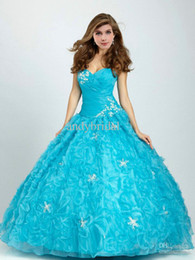 Wholesale Cheap Teal Quinceanera Dresses Sweetheart Lace up Ruffled Organza Beaded Princess Gowns Sweet Sixteen Ball Gowns with Artificial Flowers
