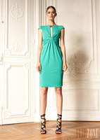 Accept Yes Yes Zuhair Murad Cap Sleeve Cocktail Dresses Light Green Bateau Sheath 2013 Tight Mini Party Dresses Short Length Elastic Satin Ruffled Zipper