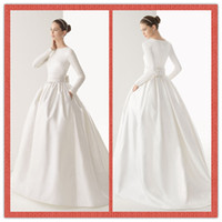 Wholesale New Modest White Dress High Neck Long Sleeve Ball Gown Wedding Dresses Simple Covered Button Sweep Train Ribbon Bridal Gowns AW