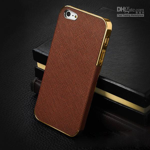 Buy Deluxe Leather + Metal Electroplating Hard PC Case Cover Skin Shell Frame iphone 4 4S 5 5S 5C sliver/gold bumper