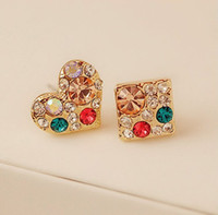 gold South American Women's New Arrival Korea Style Gold Plated Alloy Colorful Rhinestone Square Heart Ear Stud Earrings 12pairs lot