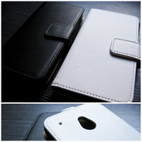 Wholesale White Black Real Cowhide Leather Case For HTC ONE Mini M4 Wallet Book type with Crad holder Stand N Vertical Flip Cover Free DHL