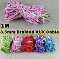 Wholesale 3 mm Jack M M AUX Audio Cable Braided Woven Fabric Knitted Stero Car Audio Extention Auxiliary Cord Lead Cables For Iphone MP3 Speaker
