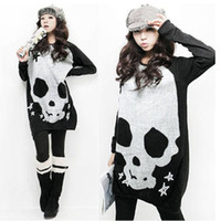 Wholesale 2016 Autumn Punk Blouse Fashion Women Blouses and tops Plus size Skull Printed Loose Blouse Long Sleeve Knit Blouses tshirts Pullover AU23