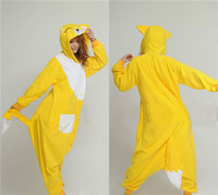 Wholesale Cheap Cute Wonderful Yellow Fox Cosplay Costume Unisex Adult Onesie Bridal Undergarments Or Sleeping And Home Dress