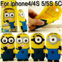 Wholesale 3D Cartoon Despicable Me Minion Minions Soft Silicone Rubber fragrance skin Case cover For Cell phone Apple iphone S S C