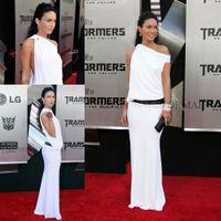 Reference Images One-Shoulder Chiffon Megan Fox at Transformer 2 Premiere white one shoulder floor length long celebrity dress CD024