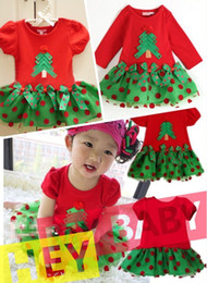 5PCS Xmas Baby Girls Short Sleeve Long Sleeve Christmas Tree Red Dots Dress Children Princess Green Skirt Kids Halloween Party Clothes