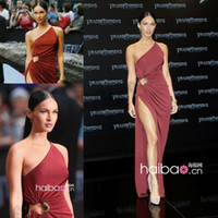 Reference Images One-Shoulder Chiffon Megan Fox New Year Style sexy one shoulder side slit floor length long chiffon celebrity dress Evening Dresses