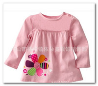 Wholesale New Fashion Girl Pure Cotton T Shirt Children Garment Long Sleeve Tee Kid Clothing O Neck Animal flower Pattern Frilly Tops