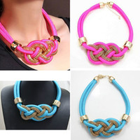 Wholesale 12Pcs Candy Neon Fluorescence Necklace Chunky Choker Women Collar Bib Statement Necklace Handmade Metal Cotton Woven Necklace Mixed Colors
