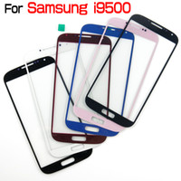 Wholesale For Samsung Galaxy S4 I9500 Outer Front Glass Lens Screen Digitizer Touch Screen Cover With Brand Logo Blue Pink Red White Black