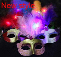 Wholesale LED lights mask feather mask with light mask dance coloured drawing or patter