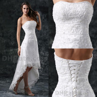 Wholesale New arrival Wedding dresses Lace A line hi low Strapless Applique Elegant Grace W284