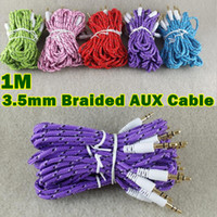 Wholesale Braided Fabric Audio AUX Cable For Iphone M FT Colorful mm Male to Male Stereo Audio cables Cord for mp3 mp4 iPod PC
