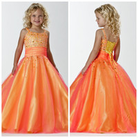 Wholesale Stunning Spaghetti Straps Orange Yellow Princess Little Girls Pageant Dress Tulle Party Ball Gowns