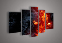 More Panel Oil Painting Abstract Modern 5 Panels Oil Painting Fine Canvas Wall Art the Hot Fire Flower Nice Design High Quality Excellent Artwork Top House Decoration