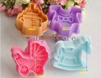 Wholesale 4 sets of springs push type D stereoscopic cookie cutters Trojans bottles stroller children die cutting