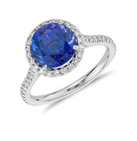 Wholesale 14K White Gold Tanzanite and Diamond Ring Solid Gold Round mm Tanzanite Diamond Wedding Engagement Ring Certificate Jewelry XCXR048