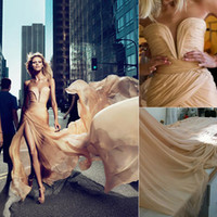 A-Line Sexy Ruffle 2015 Elie Saab Anja Rubik Formal Evening Dresses Champagne High Side Slit Celebrity Gowns New Arrival Chiffon Ruffled Prom Party Dress 2016