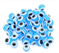 Wholesale MIC AquaBlue Evil Eye Striped Round Resin Spacer Beads mm