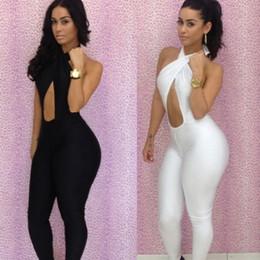 Wholesale New Fashion Black White Sexy Women s Bodycon Bodysuit with Halter Twist Bra Bodywear Jumpsuits Sleeveless Backless Party Club Wear