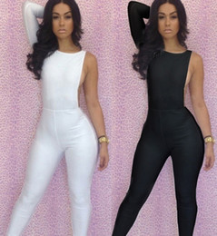 Wholesale 2014 New Fashion Black White Sexy Women s Bodycon Bodysuit One Shoulder Bodywear Jumpsuits Sleeveless Backless Party Club Wear LYQ1367