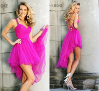 Fashion Sexy 2014 Cocktail Dresses Short Hi- Lo Short Front L...