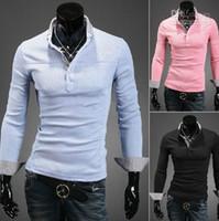 Men Cotton Polo 2013 new Men's T-shirt Slim men's polo shirts Plaid long sleeve mens t shirts blue xcz