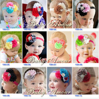 Hairband Cloth Floral New Baby Girl Shabby Headbands 5 pcs 28 Color TOP BABY Rags Rose Flower Rhinestone Headbands Hair Hoop Princess Hair Accessories Headwear