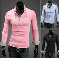 Men Cotton Polo 2013 new Men's T-shirt Slim men's polo shirts Plaid long sleeve mens t shirts pink cv