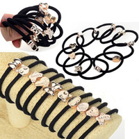South American Women's Alloy 100pcs lot Black High Quality Elastic Ties Ponytail Holders Bow Butterfly Heart Beads Hairband Hair Accessories [JH01043(10)*10]