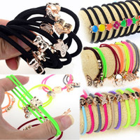 Wholesale 111pcs Mix Pony Tail Holder with Beads Charm Hair Head Band Hairband JH01040 JH01043