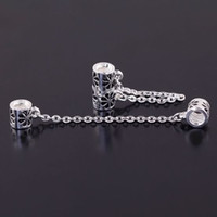Alloy beads stoppers - 50PCS Security Safety Chain STOPPER Big Connector Beads CHAINS FIT CHARM BRACELET for European snake Chain jewelry findings