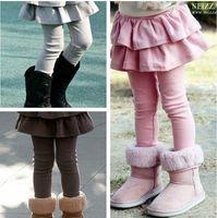 Les nouvelles filles jupe collants legging pantalon enfants jupes leggings pantalon bébé brun rose bot noir pur gris 5color Choisissez gratuit, 2-8T, 5pcs / lot