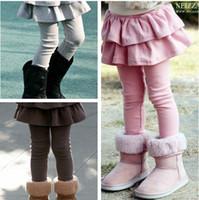Precio de Faldas para las muchachas de los niños-Nuevas muchachas de la falda de los pantalones legging medias faldas de los niños pantalones de las polainas del bebé de color rosa pura bot negro gris marrón 5Color Elija libre, 2-8T, 5pcs / lot