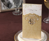Invitation Cards Folded Gold Wholesale-Customized wedding invitation card Golden Red Purple 3 colors+ Free envelope and seal