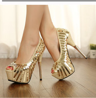 Wholesale Fall new single shoes sexy luxury shiny fish mouth waterproof sequins metal stilettos w15
