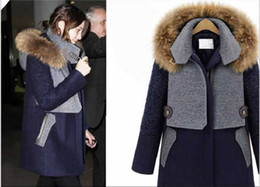 Wholesale 2013 racoon dog Fur collar blue terylene wool warm for women amp girls coats long section