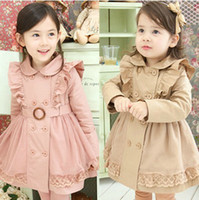 Girl best fall coats - Best Quality Korean Children Tench Coats Temperament Princess Double Breasted Lace Quilted Girls Fall Winter Coat Kids Outwear QZ110