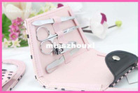Wholesale Pink Polka Dot Purse Manicure Set favor100PCS wedding bridal shower favors and gifts
