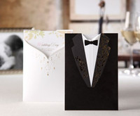 Wholesale White Bride Front Black Groom Back Customized Wedding Party Invitation Cards Tri folded Inner Sheet with Envelope and Seal